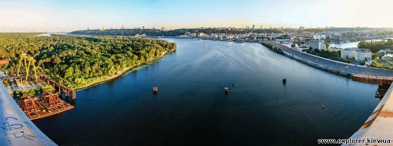 Панорама центра Киева с вершины моста