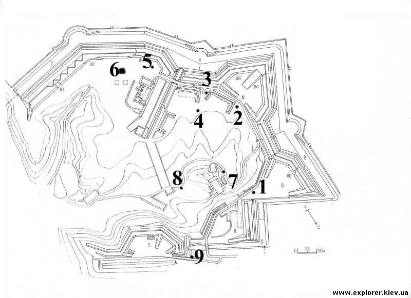 Расположение резервуаров для воды на Лысой горе