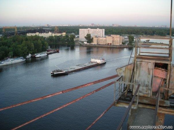 Вид с вершины моста на Днепр